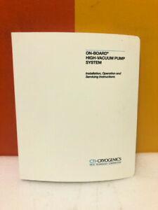 Helix On board High vacuum Pump System Install Operation Service Manual