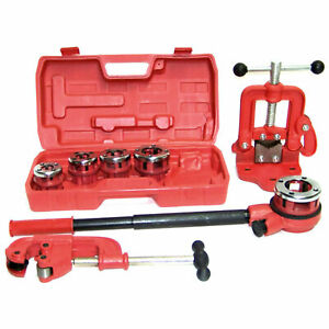 Plastic Metal Ratchet Ratcheting Pipe Threader Kit Set W dies And Pipe Cutter