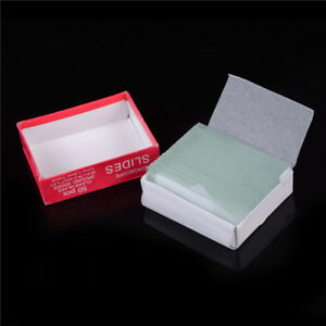 Professional 50pcs Blank Microscope Slides Accessories Cover Glass Lab fi
