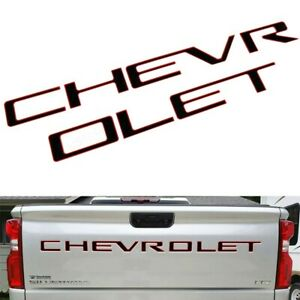 Black Red Tailgate Insert Letters Decal Stickers For Chevrolet Silverado 19 21