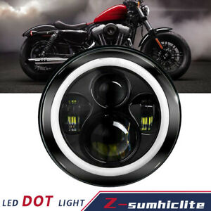 7 Inch Led Headlight Projector Halo Motorcycle Lamp For Dyna Cafe Racer Bobber