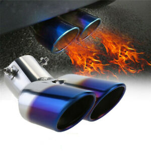 Car Suv Rear Dual Exhaust Pipe Tail Muffler Tip Throat Tailpipe Sporty Type 1to2