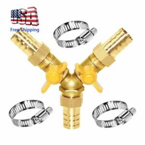 3 Way Shut Off Ball Valve 3 4 Hose Barb Y Shaped 2 Switch Brass Fitting
