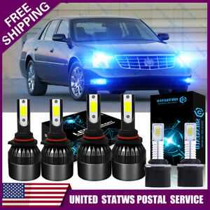 For 2000 2005 Cadillac Deville 6x Blue Led Headlight Hi low Beam fog Light Kit