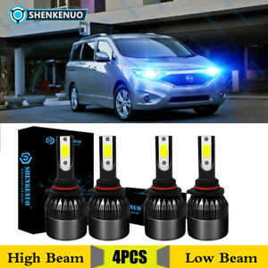 for 2004 2009 Nissan Quest Led Hi lo Beam Headlight Bulbs Blue 9005 9006 Kit