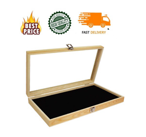 Wood Glass Top Lid Black Pad Display Box Case Medals Awards Jewelry New