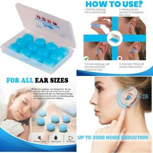 6 Pairs Ear Plugs For Sleeping Reusable Silicone Moldable Noise Cancelling New