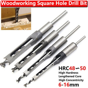 1 4 6x Woodworking Square Hole Drill Bits Set Wood Mortising Chisel Cutter Tools