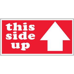 3 X 6 this Side Up Arrow Labels 500 roll Red