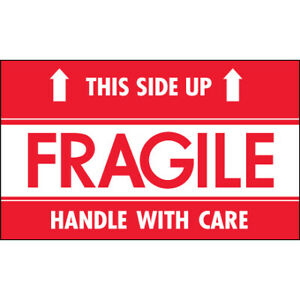 3 X 5 fragile This Side Up Hwc Labels 500 roll Red white