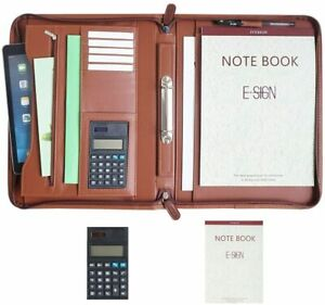 Ivesign Zippered Padfolio Portfolio Two Ring Binder Pu Leather Briefcase With