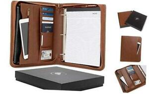Forevermore Portfolio Padfolio With Zippered Closure Removable 3 Ring Brown