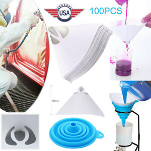 100pcs Fine Paint Paper Filter Strainers Mesh Nylon Cone Cup For Spray Gun New
