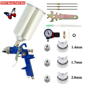 1 4mm 1 7 2 5mm Nozzle Hvlp Air Feed Spray Gun Kit Car Paint Primer Clearcoat Us