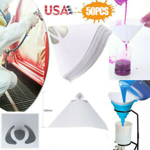 50pcs Fine Paint Paper Filter Strainers Mesh Nylon Cone Cup For Spray Gun Us New