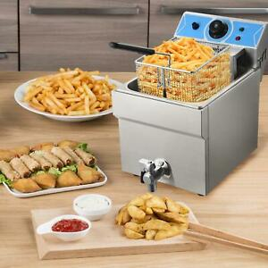 Commercial Restaurant Electric 11l Deep Fryer W timer And Drain Stainless Steel
