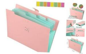 Expanding File Folders With 5 Pockets Plastic A4 Letter Size Accordion Pink