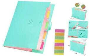 Expanding File Folders With 5 Pockets Plastic A4 Letter Size Accordion Jade