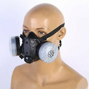 Half Face Gas Mask Dual Filters Safety Gas Chemical Respirator With Glasses