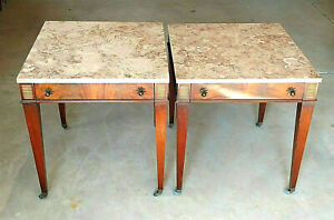Rare Unique Pair Of Antique Mahogany Marble Top Side End Tables Weiman