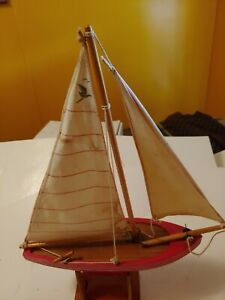 Vintage Wood Model Sailboat 19 Tall 12 Long With Rutter And Stand Red