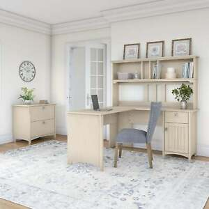 The Gray Barn Ermine 60 inch L shaped Desk With Hutch And White Large