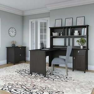 The Gray Barn Lowbridge 60 inch L shaped Desk With Hutch And Black Large