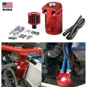 Oil Catch Can Kit 300ml Tank Baffled Reservoir Breather Filter Red Usa Universal