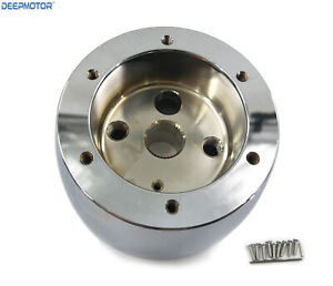 6 Bolt 6 Holes Steering Wheel Hub Adapter Mount Aftermarket Chevy Gm Chrome