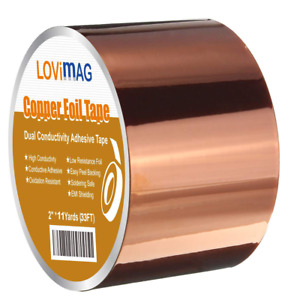 Copper Foil Tape 2inch X 33 Ft With Conductive Adhesive For Guitar