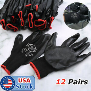 6 12 Pairs Pu Coated Work Gloves Builder Mechanic Construction Grips Black Us