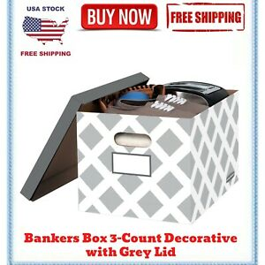 Bankers Box 3count Decorative Letter File Box Grey Diamond Design With Grey Lid