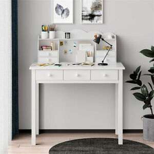Writing Study Desk Home Office Computer Pc Table W 7 Storage Drawers shelf white