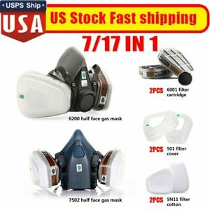 7 17 In 1 Half Face Mask Respirator Suit For 6200 Gas Spray Painting Protection