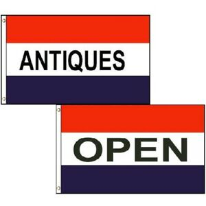 3x5 Rwb Open And Antiques Business Flags Set Of 2 Poly Red White Blue Banner New