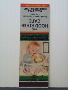 Matchbook Cover Hood River Cafe Oregon Restaurant Or Baby In Highchair Content