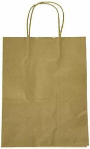 Craft Brown Paper Bag Grocery Shopping Bags With Rope Handles Retail 50 Pcs New
