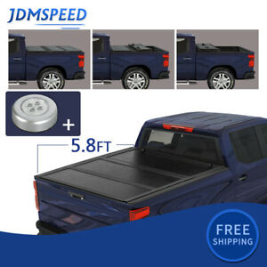 For 2019 2020 Chevy Silverado 1500 5 8ft Bed Solid Hard 3 Fold Tonneau Cover