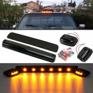 3pc Full Amber Led Cab Roof Marker Light Assy For 07 14 Chevy Gmc 2500hd 3500hd