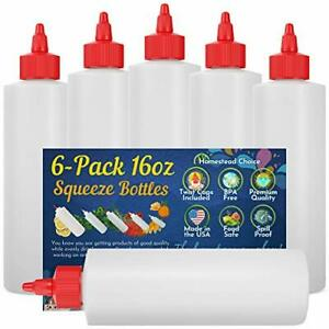 pack Plastic Squeeze Condiment Bottles 1 ounce With Red Twist cap Set 16oz 6