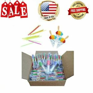 Perfect Stix Snow Cone Cup Kit 50ct Snow Cone Kit With 50 Cups 50 Neon Straws