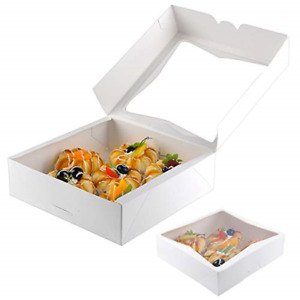 20pcs 9inch Bakery Pie Boxes With Window Kraft Paperboard Pastry Box Cookie