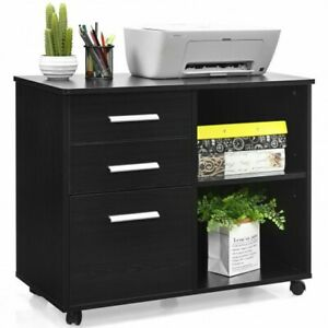 Costway 3 drawer File Cabinet Mobile Lateral Cabinet Printer Stand Black