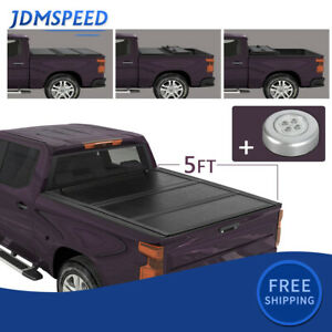 5ft Hard Tri Fold Truck Bed Tonneau Cover For 2016 2021 Toyota Tacoma On Top