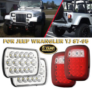 7x6 Led Headlights Hi Lo Beam White Red Tail Lights For Jeep Wrangler Yj 87 95