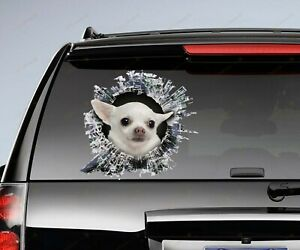 White Chihuahua Car Decal Chihuahua Car Stickers Window Decal For Dog Lovers