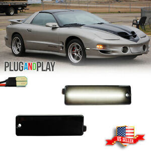 Smoked White Led Front Bumper Side Marker Lights For 1998 2002 Pontiac Firebird