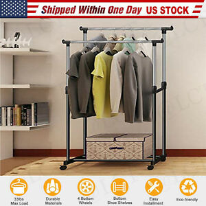 Heavy Duty Commercial Garment Rack Rolling Collapsible Clothing Shelf W Wheels