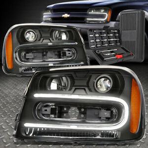 For 02 09 Chevy Trailblazer Led Drl Black Amber Projector Headlights Tool Set
