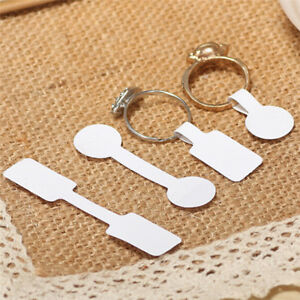 100x Blank Adhesive Sticker Ring Necklace Jewelry Display Price Label Tags Wsn